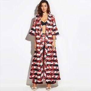 Tops - Floral Print Long Maxi Kimono Jacket Coat 2XL